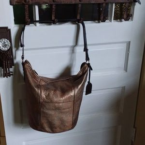 Cole Haan  Medallion  Metallic  Copper  Bucket bag